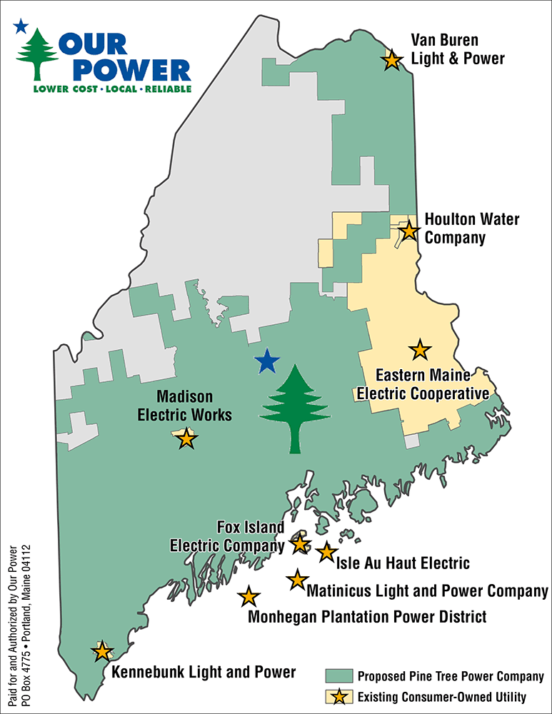 Map of Consumer-owned utilities in Maine