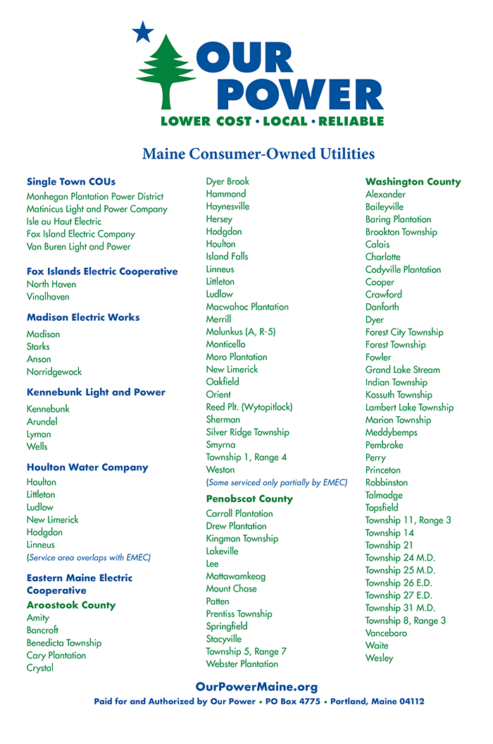 List of Consumer-Owned Utilities in Maine