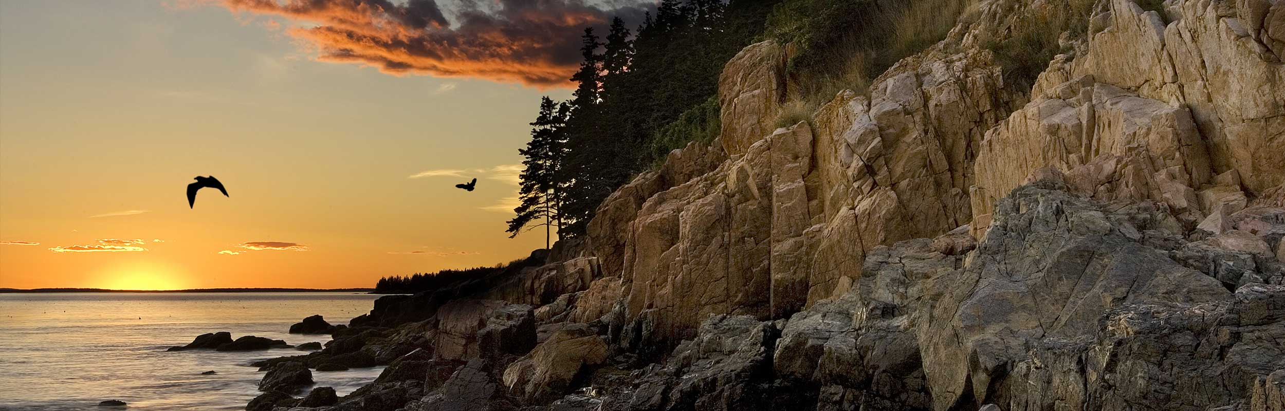 rocky Maine shoreline sunset